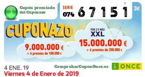 Cuponazo ONCE premiado el Viernes 4/1/2019