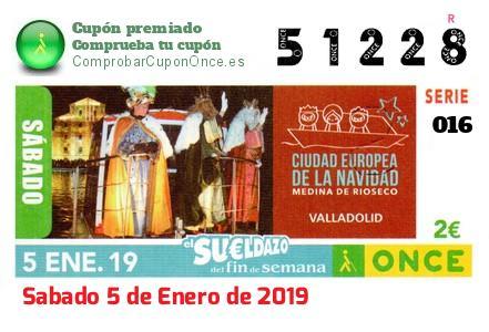 Sueldazo ONCE premiado el Sabado 5/1/2019
