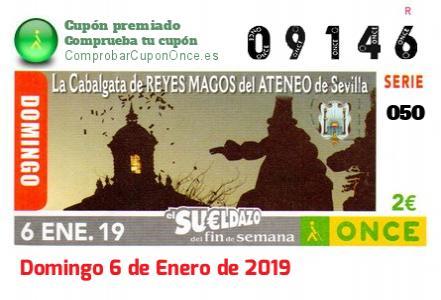 Sueldazo ONCE premiado el Domingo 6/1/2019