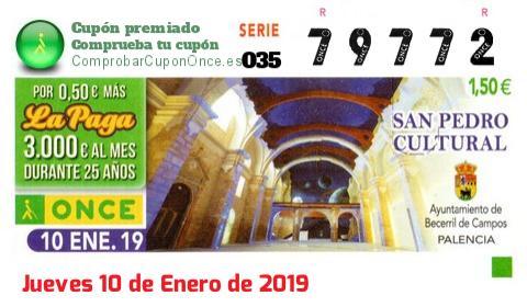 Cupón ONCE premiado el Jueves 10/1/2019