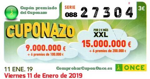 Cuponazo ONCE premiado el Viernes 11/1/2019