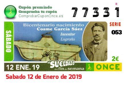 Sueldazo ONCE premiado el Sabado 12/1/2019