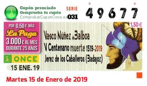 Cupón ONCE premiado el Martes 15/1/2019
