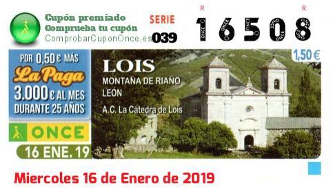 Cupón ONCE premiado el Miercoles 16/1/2019