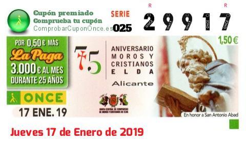 Cupón ONCE premiado el Jueves 17/1/2019
