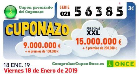 Cuponazo ONCE premiado el Viernes 18/1/2019