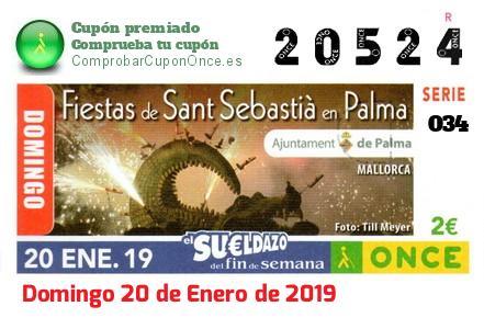 Sueldazo ONCE premiado el Domingo 20/1/2019