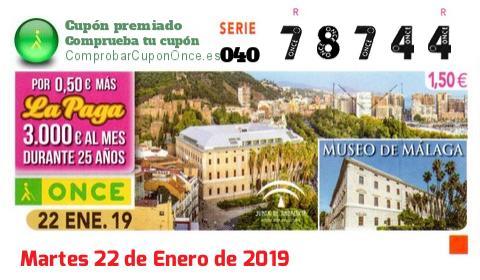 Cupón ONCE premiado el Martes 22/1/2019