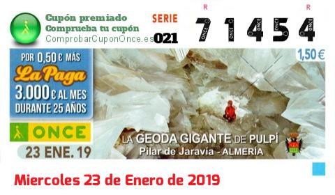 Cupón ONCE premiado el Miercoles 23/1/2019