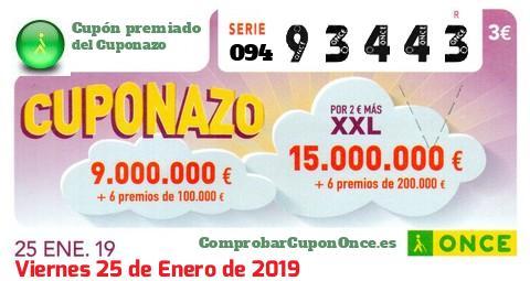 Cuponazo ONCE premiado el Viernes 25/1/2019