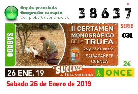 Sueldazo ONCE premiado el Sabado 26/1/2019