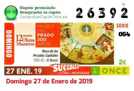 Sueldazo ONCE premiado el Domingo 27/1/2019