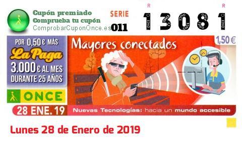 Cupón ONCE premiado el Lunes 28/1/2019