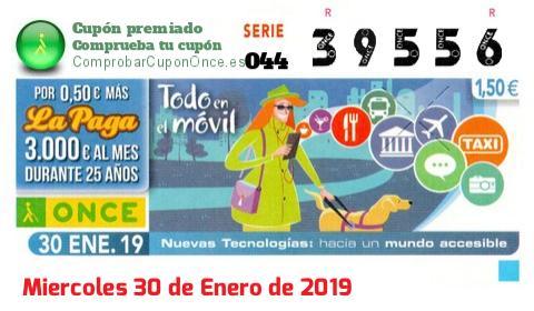 Cupón ONCE premiado el Miercoles 30/1/2019