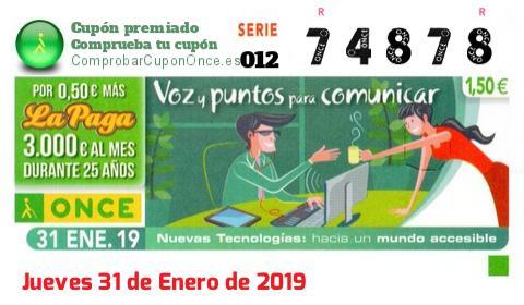 Cupón ONCE premiado el Jueves 31/1/2019