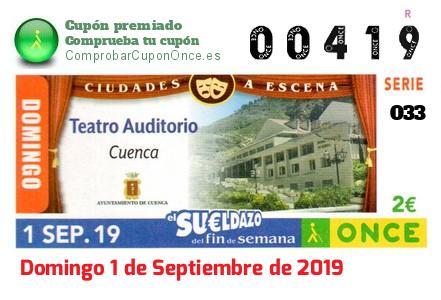 Sueldazo ONCE premiado el Domingo 1/9/2019