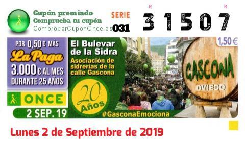 Cupón ONCE premiado el Lunes 2/9/2019