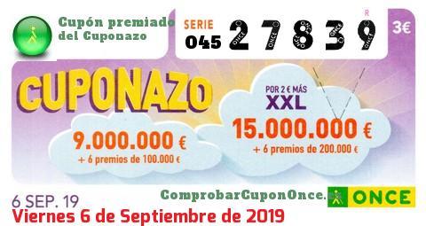 Cuponazo ONCE premiado el Viernes 6/9/2019
