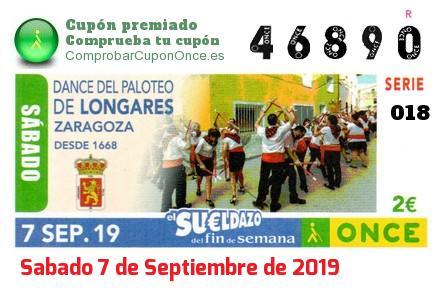Sueldazo ONCE premiado el Sabado 7/9/2019