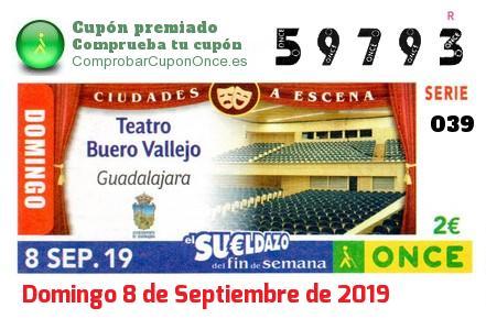 Sueldazo ONCE premiado el Domingo 8/9/2019