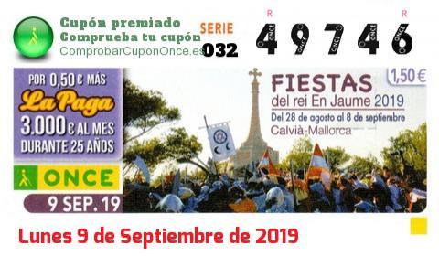 Cupón ONCE premiado el Lunes 9/9/2019