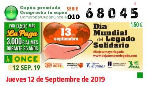 Cupón ONCE premiado el Jueves 12/9/2019