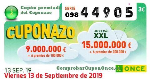 Cuponazo ONCE premiado el Viernes 13/9/2019