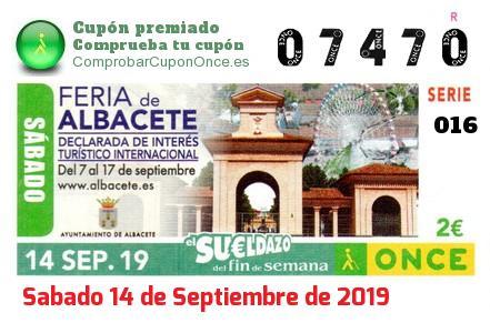 Sueldazo ONCE premiado el Sabado 14/9/2019