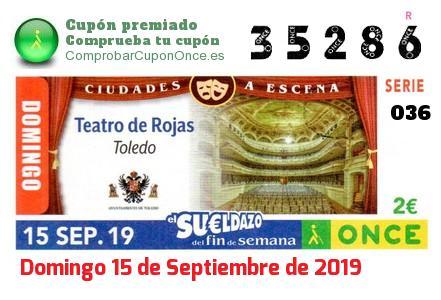Sueldazo ONCE premiado el Domingo 15/9/2019