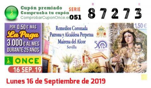 Cupón ONCE premiado el Lunes 16/9/2019