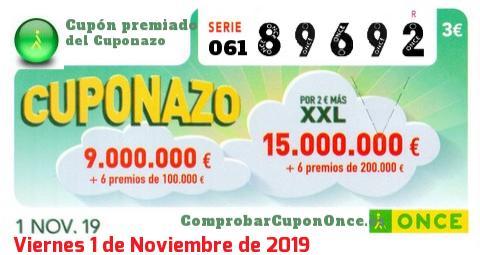Cuponazo ONCE premiado el Viernes 1/11/2019