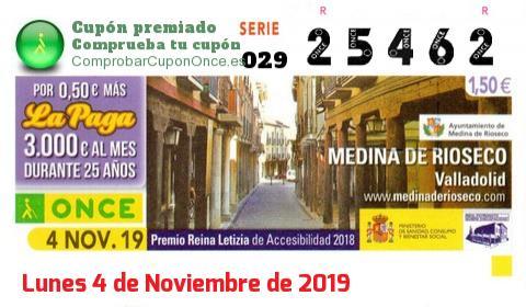 Cupón ONCE premiado el Lunes 4/11/2019