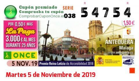 Cupón ONCE premiado el Martes 5/11/2019
