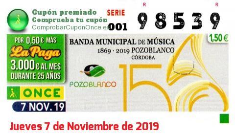 Cupón ONCE premiado el Jueves 7/11/2019