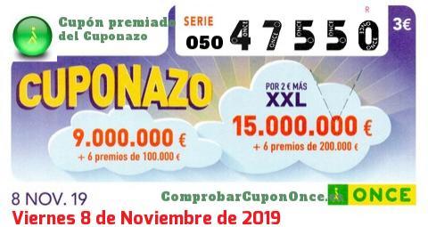 Cuponazo ONCE premiado el Viernes 8/11/2019
