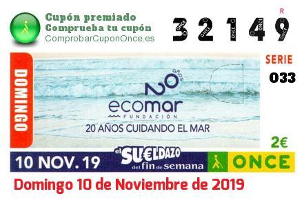 Sueldazo ONCE premiado el Domingo 10/11/2019