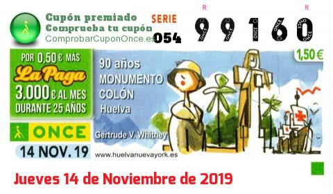 Cupón ONCE premiado el Jueves 14/11/2019