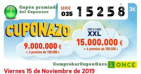 Cuponazo ONCE premiado el Viernes 15/11/2019