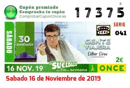 Sueldazo ONCE premiado el Sabado 16/11/2019
