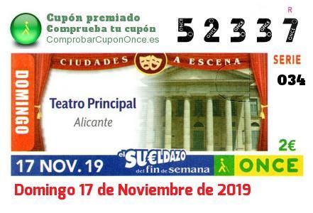 Sueldazo ONCE premiado el Domingo 17/11/2019