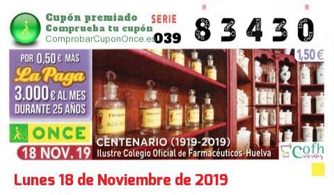 Cupón ONCE premiado el Lunes 18/11/2019