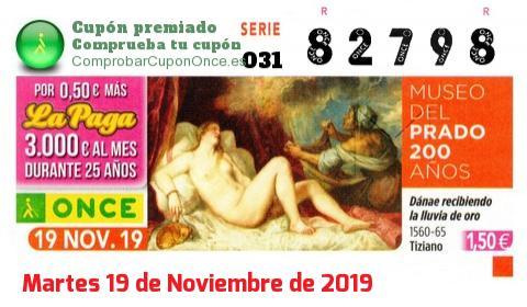 Cupón ONCE premiado el Martes 19/11/2019