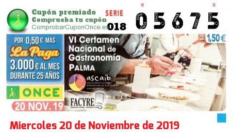 Cupón ONCE premiado el Miercoles 20/11/2019