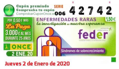 Cupón ONCE premiado el Jueves 2/1/2020