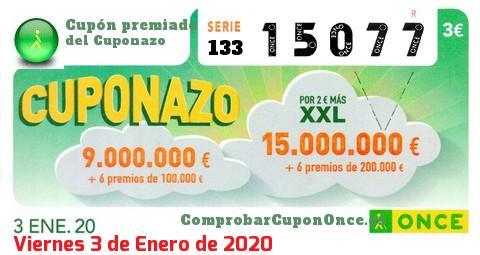Cuponazo ONCE premiado el Viernes 3/1/2020
