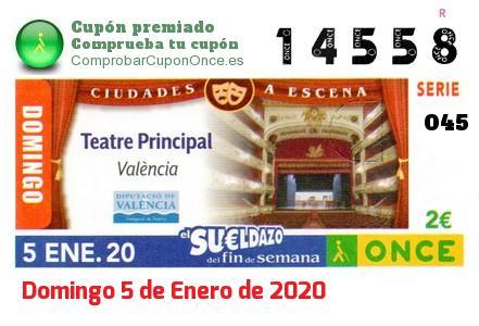 Sueldazo ONCE premiado el Domingo 5/1/2020