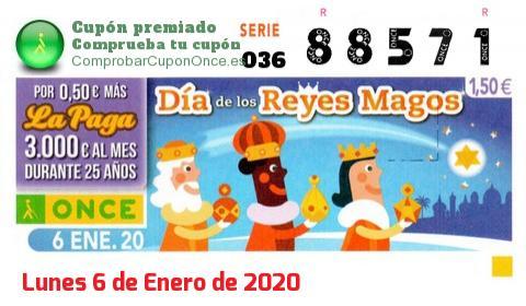 Cupón ONCE premiado el Lunes 6/1/2020