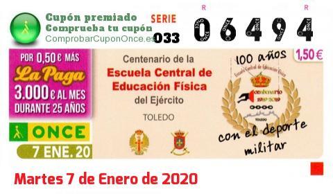 Cupón ONCE premiado el Martes 7/1/2020