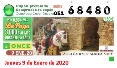 Cupón ONCE premiado el Jueves 9/1/2020