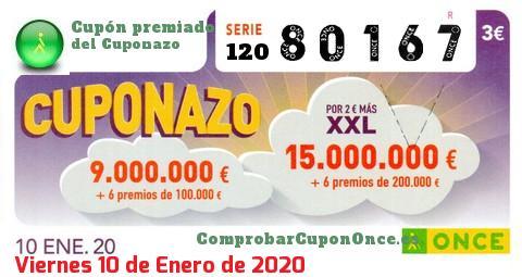 Cuponazo ONCE premiado el Viernes 10/1/2020